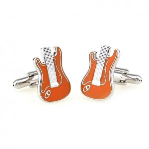 guitar cufflinks orange3
