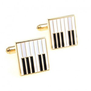 piano cufflinks gold
